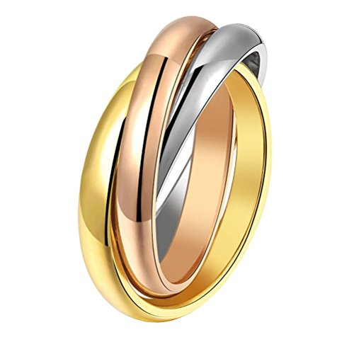 LANHI Unisex Stainless Steel Tri Color Interlocked Spinner Ring, Three in One Size 12