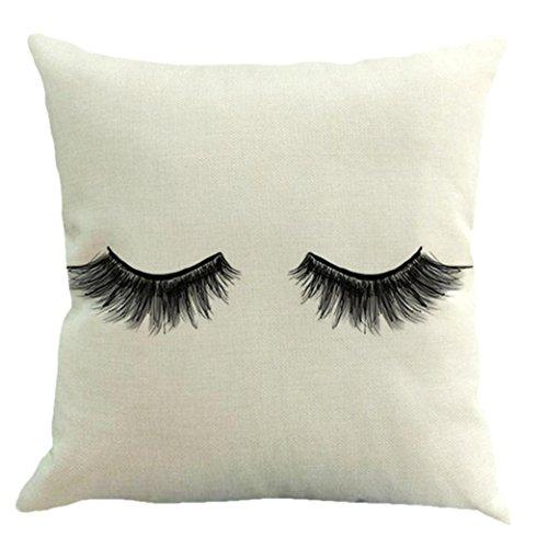 Eyelash Pillow Case,Vovomay Home Decor Pillow Cover Cushion Case Square Pillowslip for Home Decor Sofa Couch18 X 18'' (E)