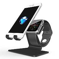 [Nouvelle Version] Apple Watch et Iphone Stand, OMOTON 2 en 1 Support en Alliage D'aluminium pour Apple Watch Séries et Iphone Séries, Noir