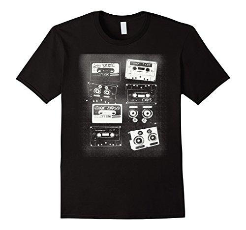 Men's Retro Tape Cassettes 80's Vintage Music T Shirt Large Black (70s Or 80s Clothing)