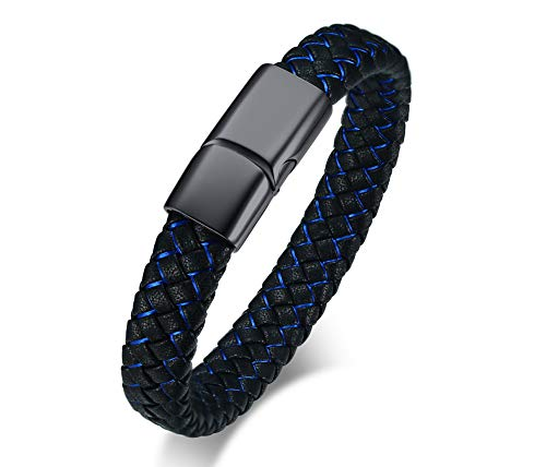 - MEALGUET Men's Braided Genuine Leather Bracelet Leather ID Bracelet with Magnetic Clasp for Dad Father