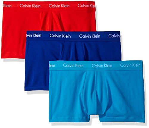 cd4403a07441 Calvin Klein Men's Underwear 3 Pack Cotton Stretch Low Rise Trunks,  Prussian/Orange Rouge
