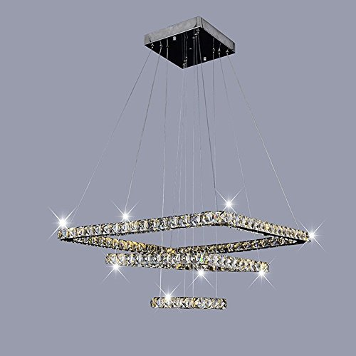 Dixun Modern Luxury LED Crystal Chandeliers Pendent Light Home Ceiling Lighting Fixture 20+30+40cm 3 Squares (Warm) by Dixun (Image #4)