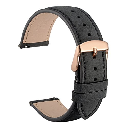 WOCCI 20mm Suede Vintage Leather Watch Band with Rose Gold Buckle, Quick Release Strap (Black with Tone on Tone Seam) by WOCCI