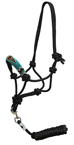 Showman Teal & White Beaded Cross Design Nose Cowboy Knot Rope Halter with 2.1m Lead   B074N6J1F8