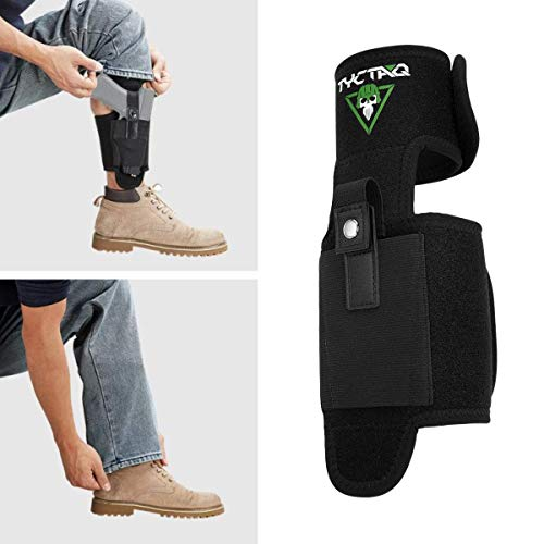 TYC TAQ GS Ankle Holster for Concealed Carry | Design for Quick & Silent Draw | Super Strong Retention | Leg Holster Fits Glock 19, 26, 36, 42, 43, Ruger LCP, LC9, S&W Shield, Sig Sauer and More