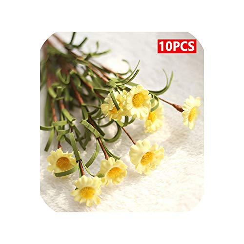Small Basketball Artificial Plants 8 Heads Flower Mini Silk Daisy Artificial Flowers Bouquet Fake Flowers for Home Decoration Party Decor,Light Yellow