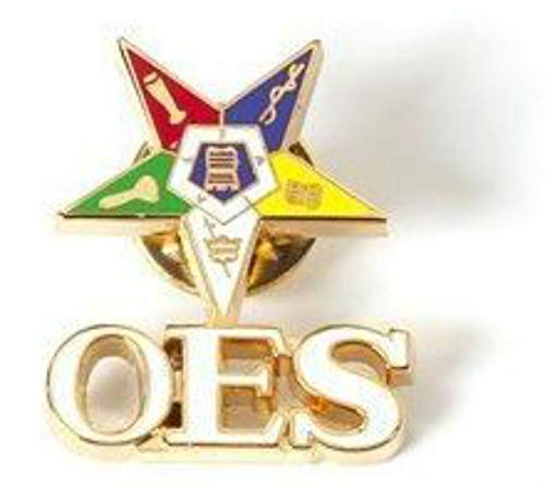 Star Shield - Eastern Star Shield Star with OES Letters - Order of the Eastern Star Lapel Pin