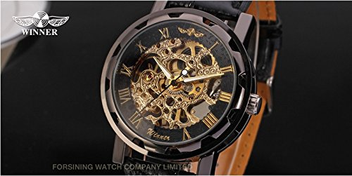 Gute Classic Steampunk Bling Automatic Mechanical Wristwatch See Through Skeleton Automatic Unisex Watch (Gold Black) 5