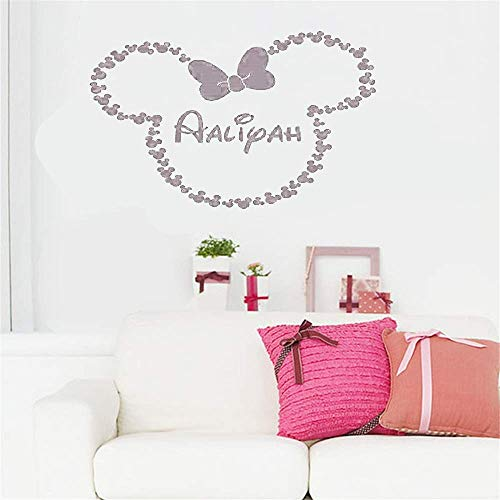 Ziues Vinyl Peel and Stick Mural Removable Wall Sticker Decals for Room Home Personalized Name with Carton Character for Nursery Kids Room Boys Girls Room ()
