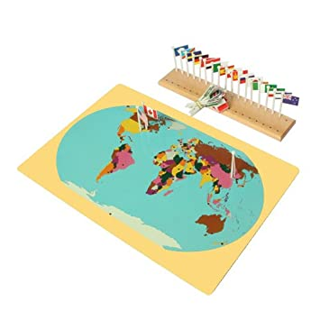 Montessori world map flags and a stand amazon juguetes y juegos montessori world map flags and a stand gumiabroncs Images