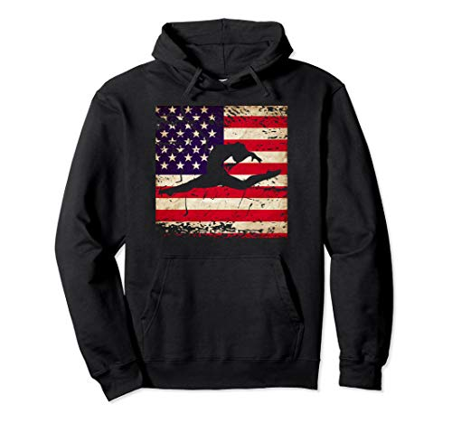 Ladies Gymnastics USA American Flag Pullover Hoodie (Best Gymnastic Coaches In Usa)
