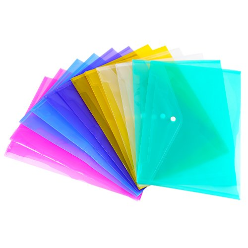 Outus Poly Envelope Project Jacket File Folders, A4 Letter Size, 6 Colors 12 Pieces