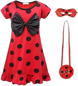 AmzBarley Ladybug Lady Bug Disfraz Niña Cumpleaños Mariquita Infantil,Girls Dress Up,Vestido Traje Falda Escenario para Cosplay Halloween Carnaval