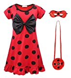 AmzBarley Ladybug Costume for Little Girls Halloween Fancy Theme Party Cosplay Outfits Red Dress with Bag and Eye Mask Age 3-4 Years Size 4T