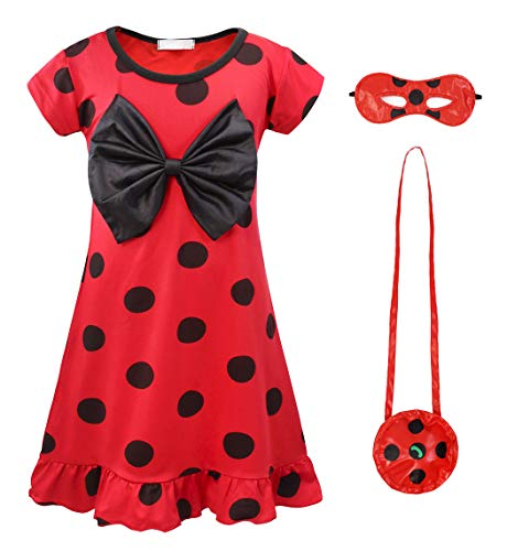 AmzBarley Girls Dot Dress Ladybug Dresses for Fancy Party Dress up Clothes Lady Bug Costumes Kids Child Red Halloween Outfits Age 5-6 Years Size 6]()