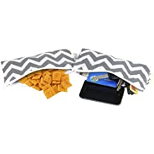 Itzy Ritzy Snack Happened Mini Reusable and Everything Snack Bag, C. Gray Chevron, Mini (Discontinued by Manufacturer)