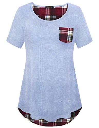 Vafoly Womens Short Sleeve Tops, Ladies O-Neck Plaid Casual Short Sleeve T-Shirt Blouse Tees Tops Light Blue M