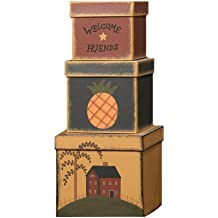 Your Heart's Delight Welcome Friends Nesting Boxes, 17 by 6-1/2 by 7-1/4-Inch, Set of 3