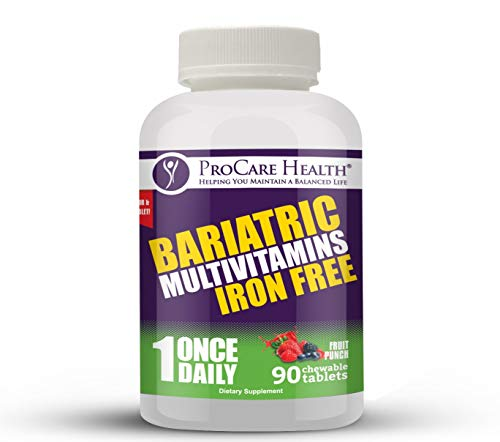 Bariatric Complete Chewable Multi-Vitamin Once Daily – Designed for RNY, Sleeve, Bypass and Switch Surgery Patients (90 Ct, Iron Free)