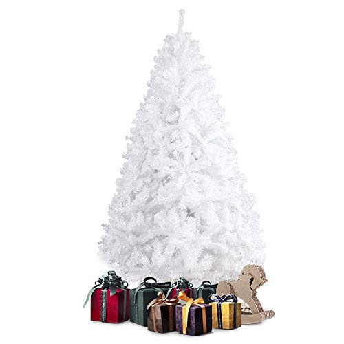 Besthls 7 FT Hinged Artificial Christmas Pine Tree Holiday Decoration with Metal Stand and 1000 Branch Tips,White (White Pre Tree Christmas Lit)