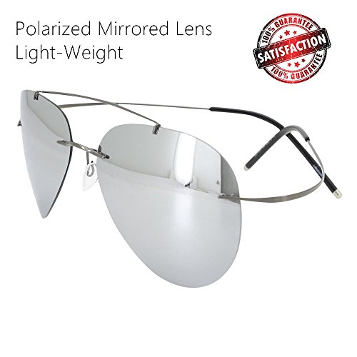 Polarized Sunglasses Rimless Aviator Mirrored Sun Glasses Light Weight for Women - Tight Sunglasses Too