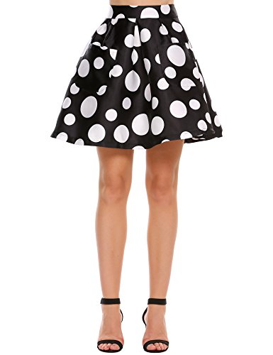 (Zeagoo ZeagooWomen Vintage Skirt Polka Dot Smock Waist Rockabilly Swing Casual Party Skirts)