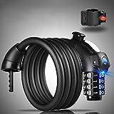 Candados de Cable,Bicicleta Candado con Luz LED,150 cm Cable de Bloqueo de la Bicicleta Basic Self Coiling Combinación Reiniciable Bloqueo de Cable de la Bicicleta de 4 Dígitos con Soporte de Montaje de Cortesía
