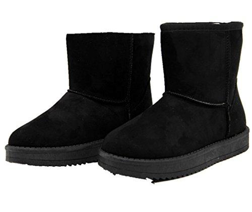 Super Me® Damen Schlupfstiefel   Warm Gefütterte Stiefel   Stiefeletten  Winter Boots Schwarz c7347a24f1