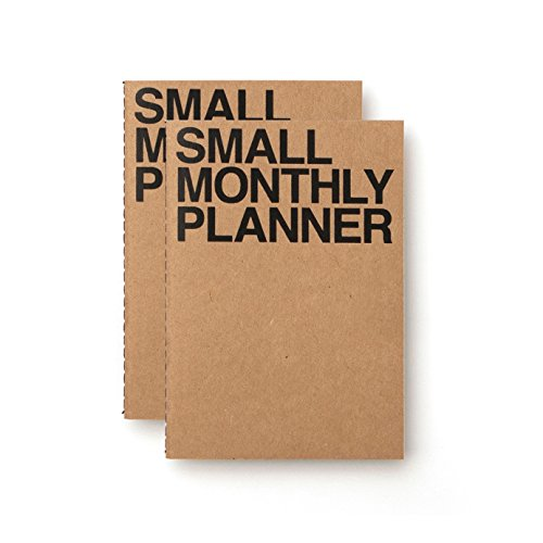 JSTORY Small Monthly Planner Set of 2 Undated Column Format Eco Friendly Customizable Handy A6 16 Months 18 Sheets Each Kraft