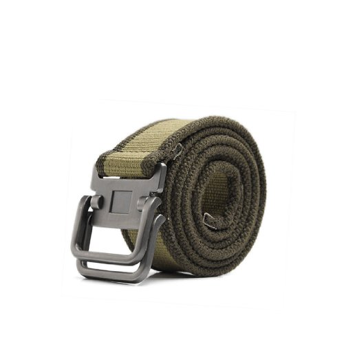 uxcell Sealed Tip Slide Metal Buckle Sturdy Canvas Waistbelt For Mens Army Green