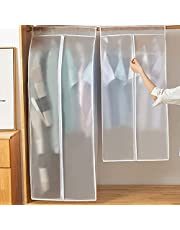 Garment Clothes Cover Protector, Large Translucent Dustproof and Moisture Proof Hanging Closet Storage Bag with Magic Tape and Zipper Ideal for Dresses, Suits, Coats, Jackets and Long Clothes
