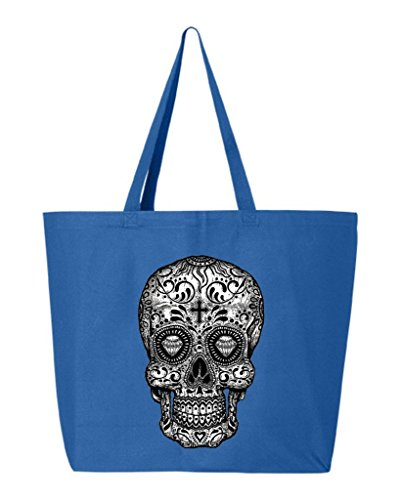 (Shop4Ever Skull Black & White Heavy Canvas Tote Day of the Dead Reusable Shopping Bag 10 oz R Blue 1 Pack)