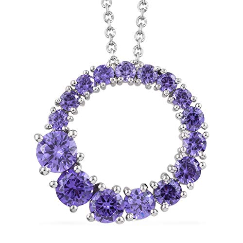 Shop LC Delivering Joy Mix Metal Cubic Zircon Purple Pendant Fashion Necklace for Women and Girls 20