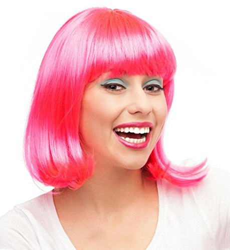 Pink Wig Hot Pink Wig For Women Short Pink Wig Ramona Flowers Costume Wig (Adult Short Pink Wig)