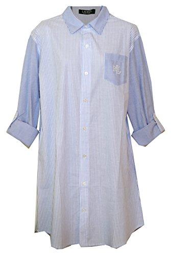 Ralph Lauren Woven Pinstripe Tab Sleeve Sleepshirt Nightgown (Light Denim Blue White Alternating Stripes on Body/Sleeves, Medium) (Lauren Woven Jeans)