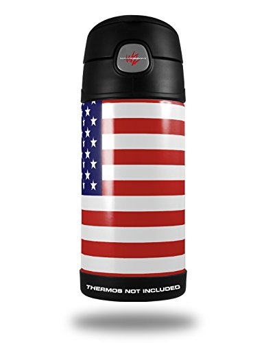 Skin Decal Wrap For Thermos Funtainer 12Oz Bottle Usa American Flag 01  Bottle Not Included  By Wraptorskinz