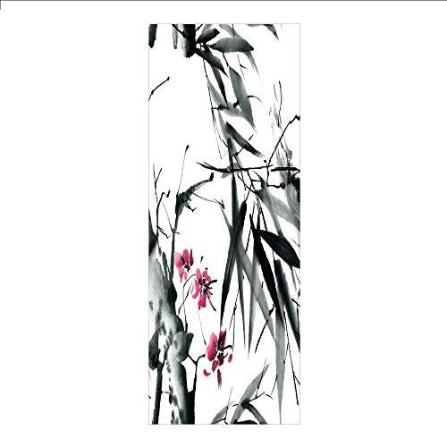 Ylljy00 Decorative Privacy Window Film/Natural Sacred Bamboo Stems Cherry Blossom Folk Art Print/No-Glue Self Static Cling for Home Bedroom Bathroom Kitchen Office Decor Dark Green Fuchsia