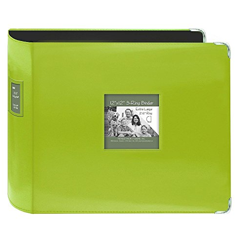 Pioneer Photo Albums T-12JF/C Jumbo 3-Ring Sewn Leatherette Frame Cover Memory Book Binder, Lime Green (Binder Memories)