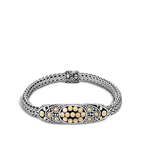 John Hardy Women's Dot Jaisalmer Gold & Silver Oval Station Bracelet, Size M - BZ904620XM ()