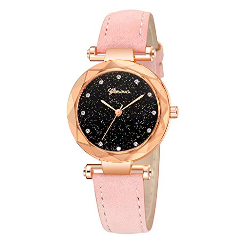 (Black Fashion Geneva Ladies Leather Watch, Automatic Mechanical Bracelet Watch Ladies Waterproof Steel Wrist Watches)