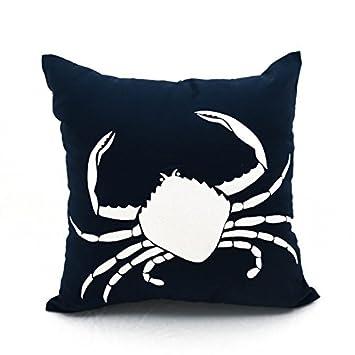 Amazon.com: Cangrejo decorativo Cover Azul Marino Lino y ...