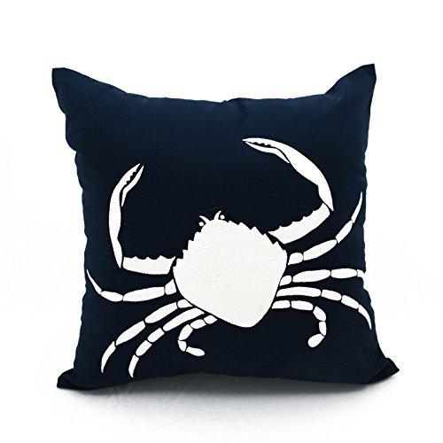 Cangrejo decorativa cuadrada funda de almohada azul marino ...