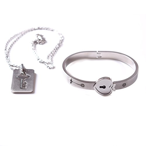 TQS Heart Lock Bangle Bracelet Matching Key Pendant Necklace Couples Titanium Stainless Steel for Women by TQS