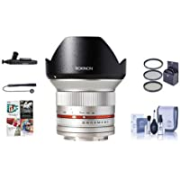 Rokinon 12mm F/2.0 Ultra Wide, Manual Focus Lens for Sony E Mount, Silver - Bundle With 67mm Filter Kit, Cleaning Kit, Capleash II, Lenspen Lens Cleaner, PC Software Package