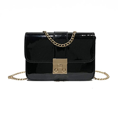 bolso Luckywe bolsos Plazoleta cadena Crossbody de cuero mensajero de Negro Diseñador bolsa moda mujeres qXrHwpaX