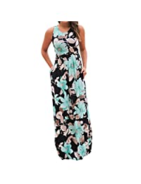 Sumen Women Sleeveless with Pockets Floral Print Boho Long Maxi Dress