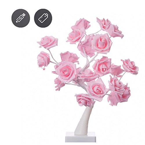 Table Lights Tree Shape 24Warm White LEDs Battery Operated1.44Ft Desk Lamp Pink Adjustable Rose Flower Fairy Lights Adjustable Bedroom Light Living Room Holiday Decorations for Velentine's Day (Table Lamp Flower)