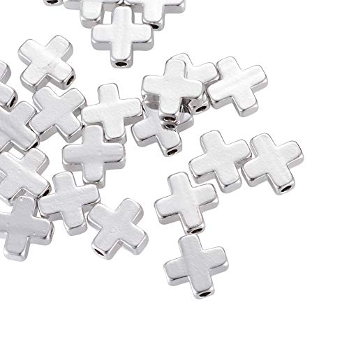 NBEADS 20 Pcs Real Platinum Plated Cross Beads Brass Loose Beads Spacer Beads for Jewelry Making