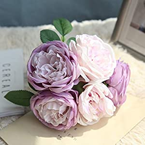 TRvancat Artificial Flowers - 2 Pack Silk Peony Flowers Bouquet 10 Heads Fake Flowers for Wedding Home Decoration(Purple) 2